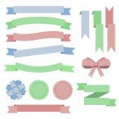 Fotografia Set flat color ribbons, badges, bookmarks and bow. Blue, green,