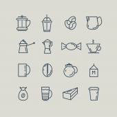 Fotografie Set of line icons. Coffee, Turk, French press, cup, milk. Vector