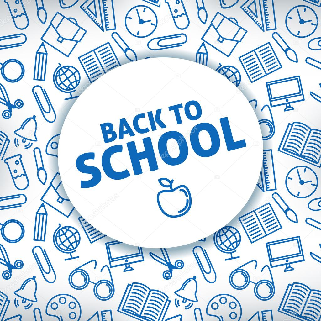 Back to school. A white background. Icon school supplies. Vector