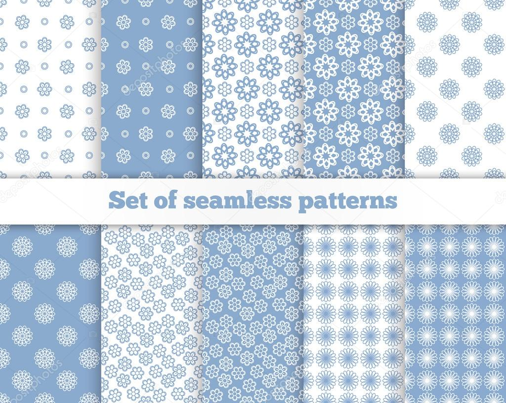 Set of seamless flower patterns. Blue, white, gray. Vector illus