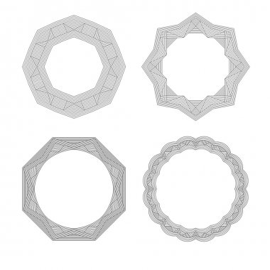Lineart geometric ornamental templates set. Vector  symbols
