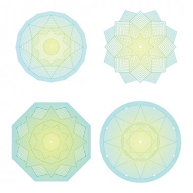 Color lineart geometric ornamental templates set. Vector symbols
