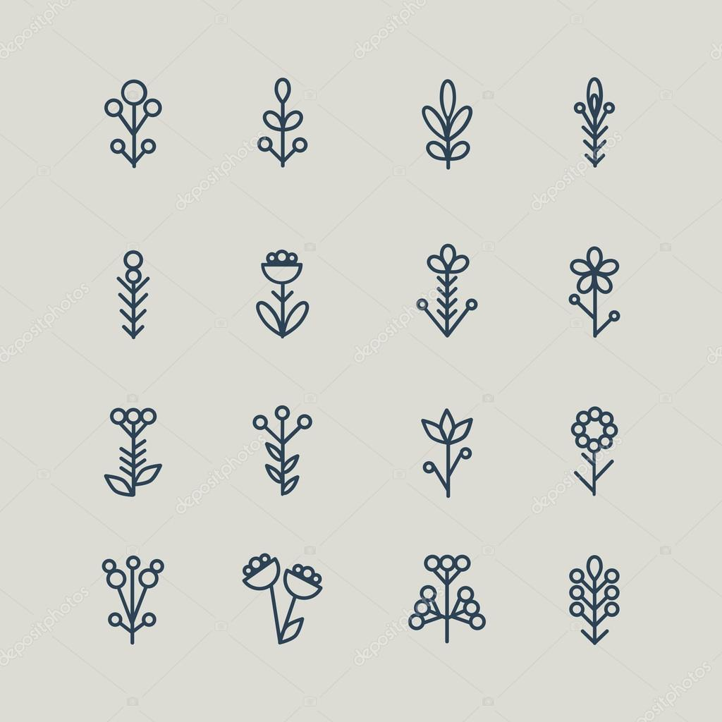 Set of abstract line icons flowers. Vector illustration