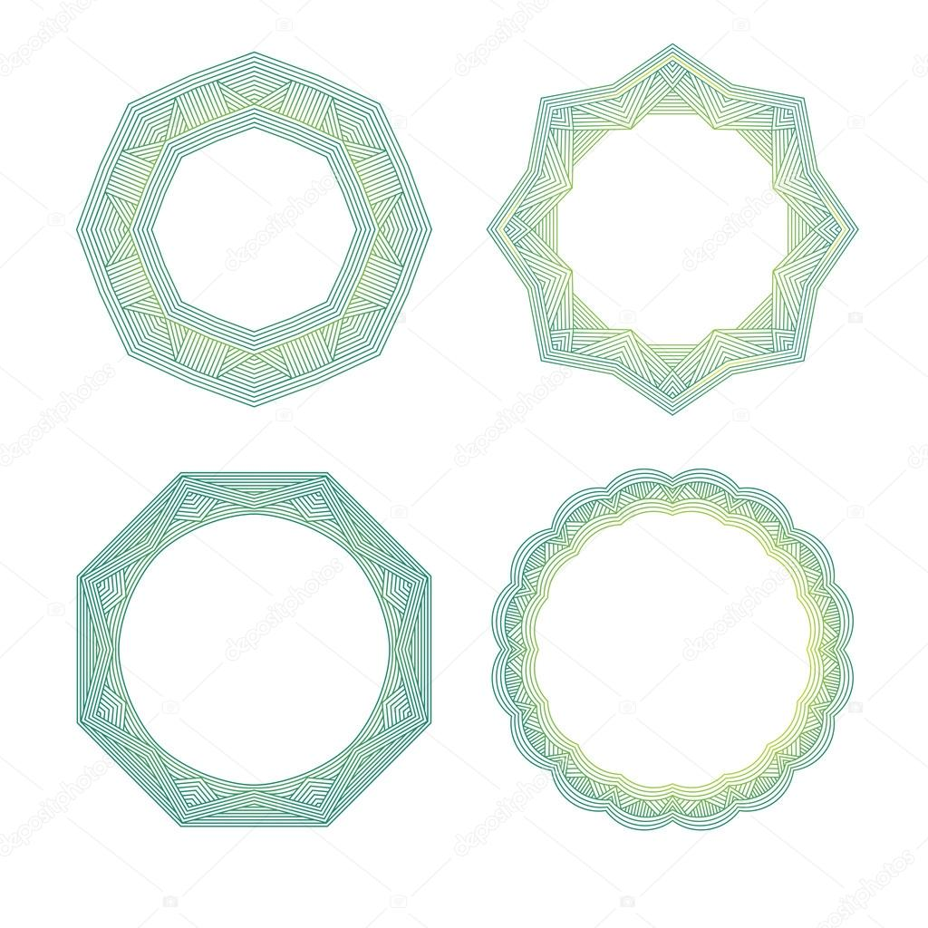 Color lineart geometric ornamental templates set. Vector