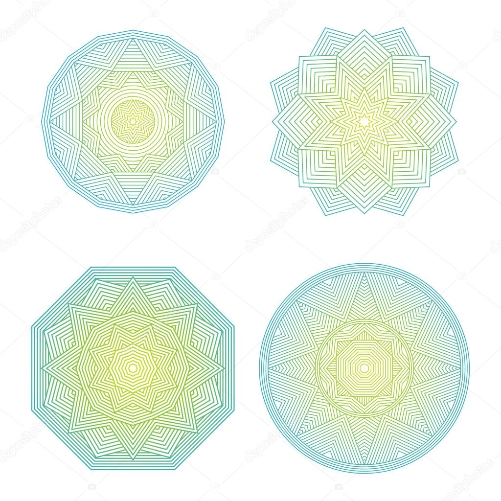 Color lineart geometric ornamental templates set. Vector symbols