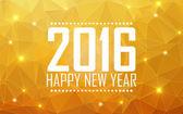 Přání šťastný nový rok 2016. Polygonální pozadí, hvězdy