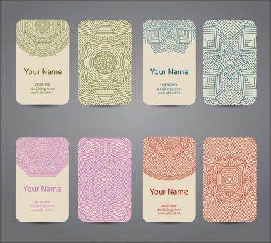 Business card. Vintage geometric decorative elements.