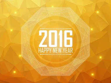 Greeting card Happy New Year 2016. Polygonal background, stars,