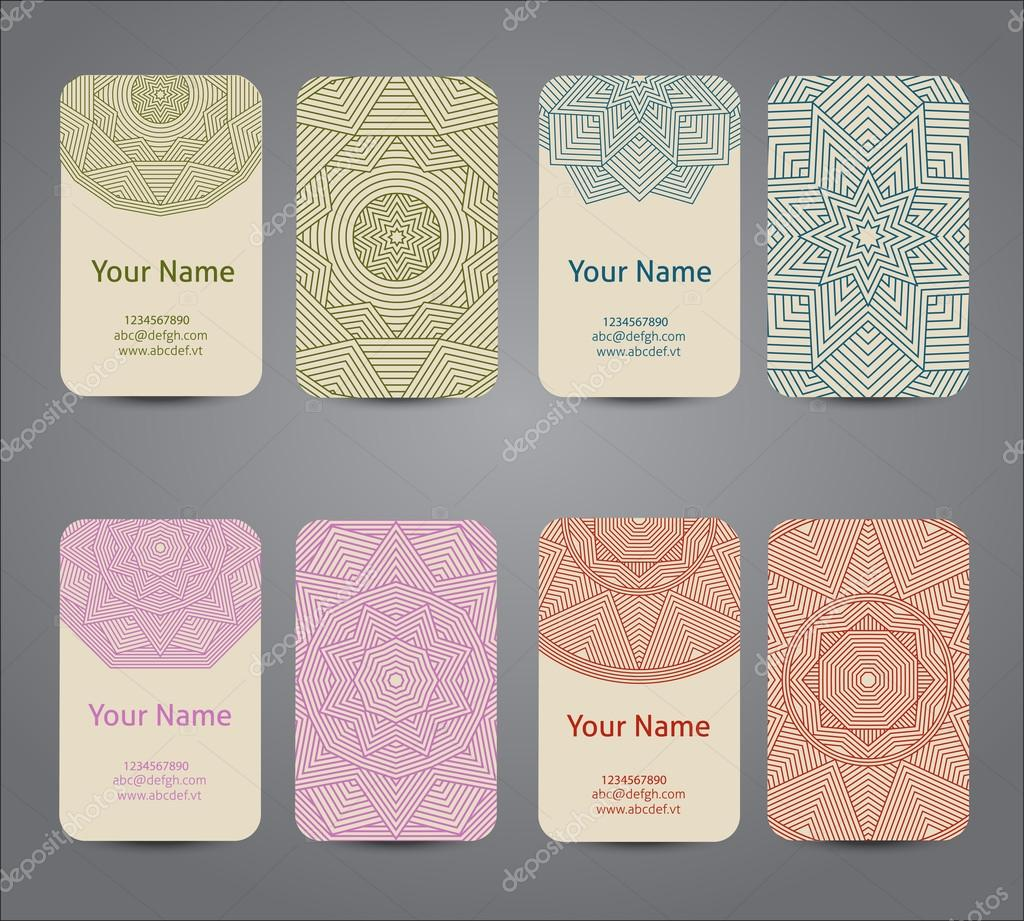 Business card. Vintage geometric decorative elements.
