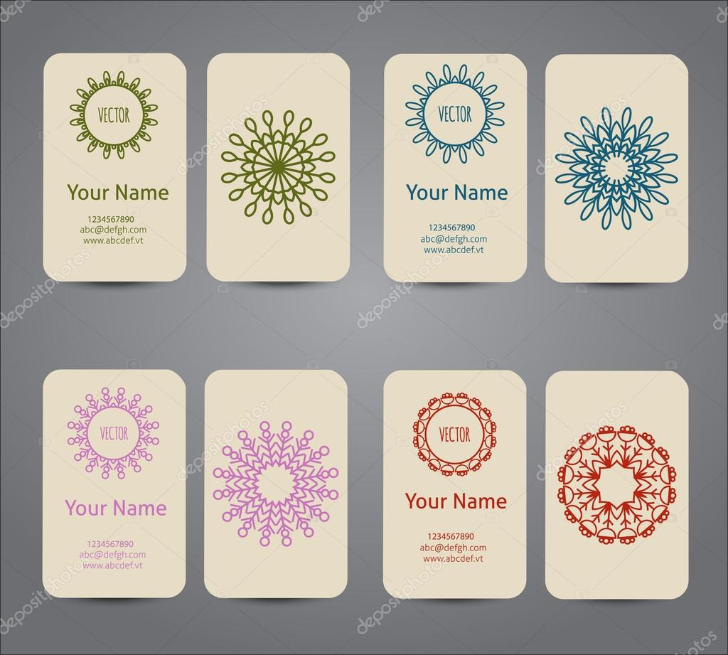 Business card. Vintage geometric decorative elements. Hand drawn