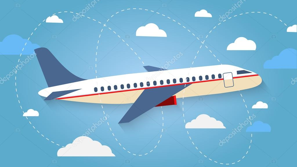 Flight of the plane in the sky. Passenger planes, airplane, airc