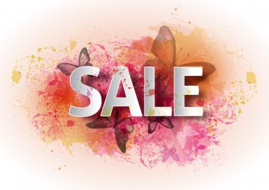 Watercolor poster sale. A bright watercolor background with butt