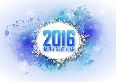 Greeting card Happy New Year 2016. Blue water color background,