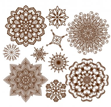 Set ornament mandala. Ethnic decorative elements. Holiday, kalei