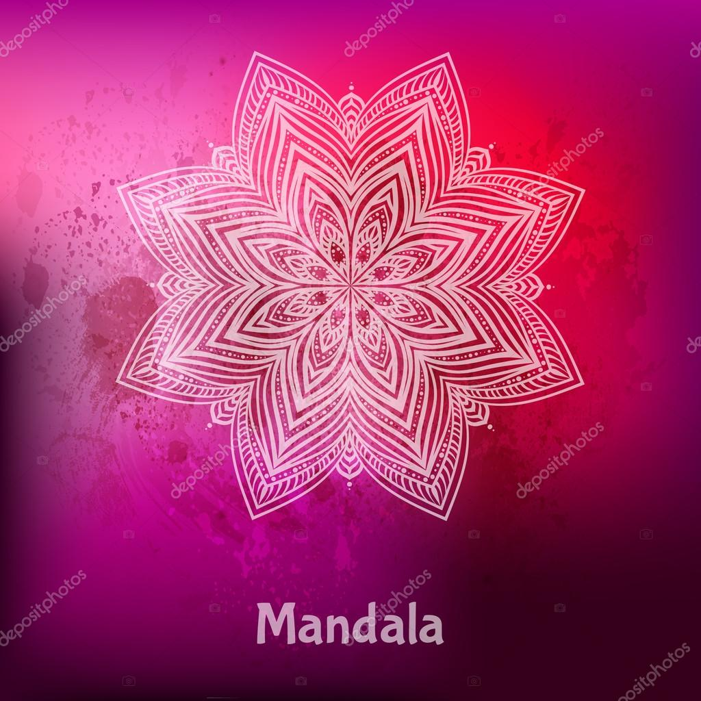 Ornament card with mandala. Ethnic decorative elements. Holiday, kaleidoscope, medallion, yoga, india, arabic. Vector illustration