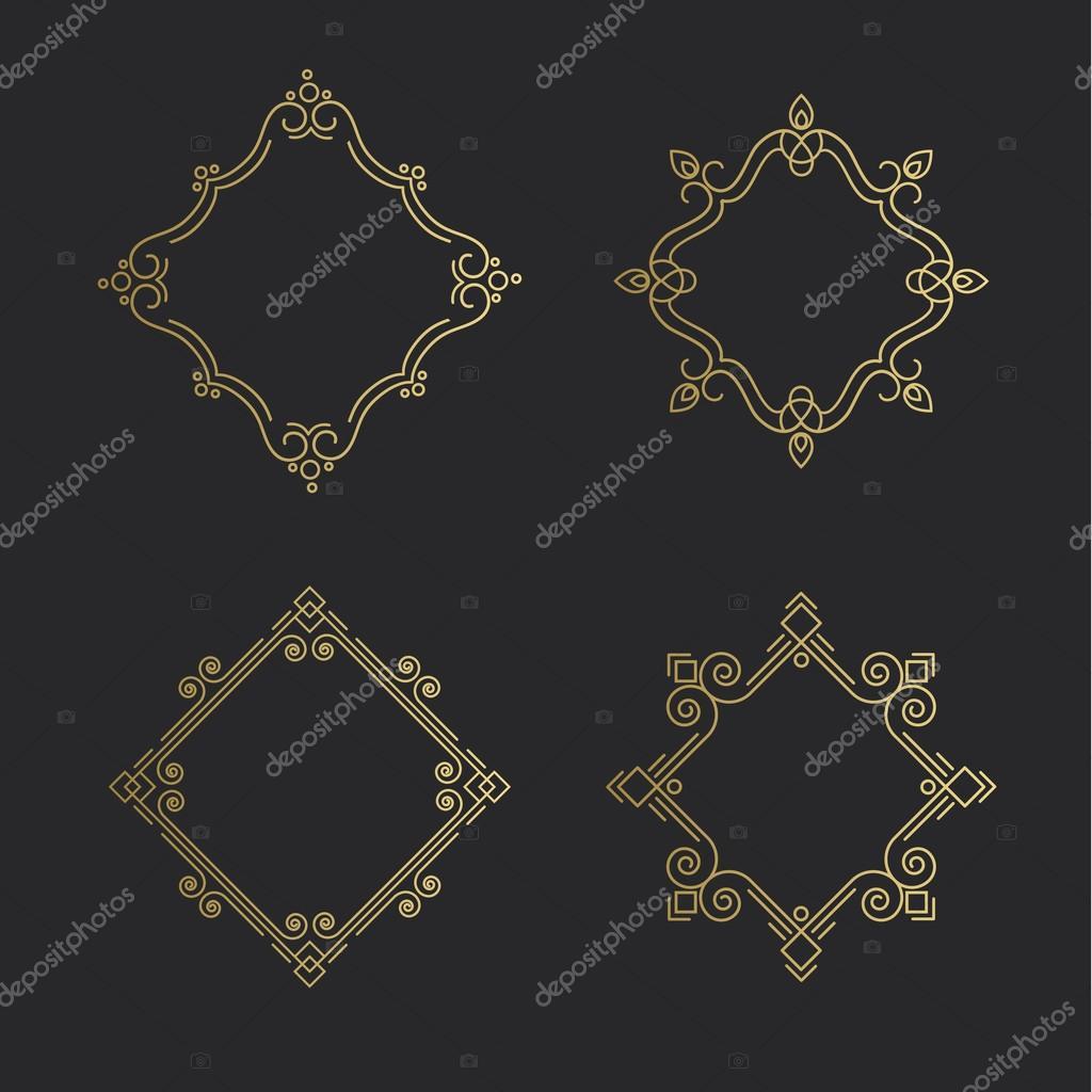 Conjunto de marco de línea de emblemas de contorno. Plantilla de ...