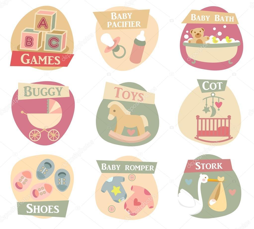 Baby life flat icons