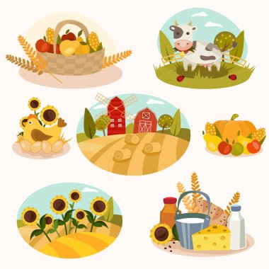 Eco farm flat icons