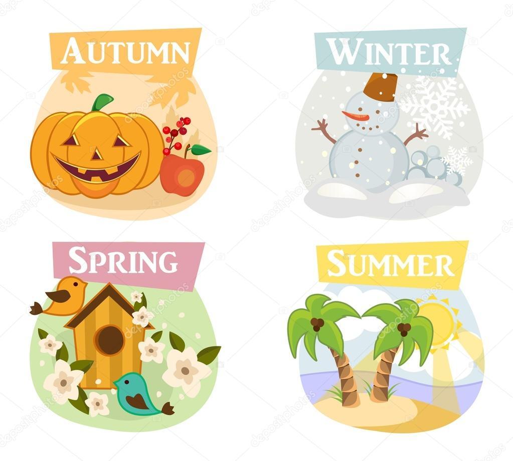 Four seasons flat icons: winter, spring, summer, autumn