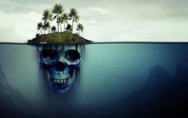 Dangerous island with skull underneath
