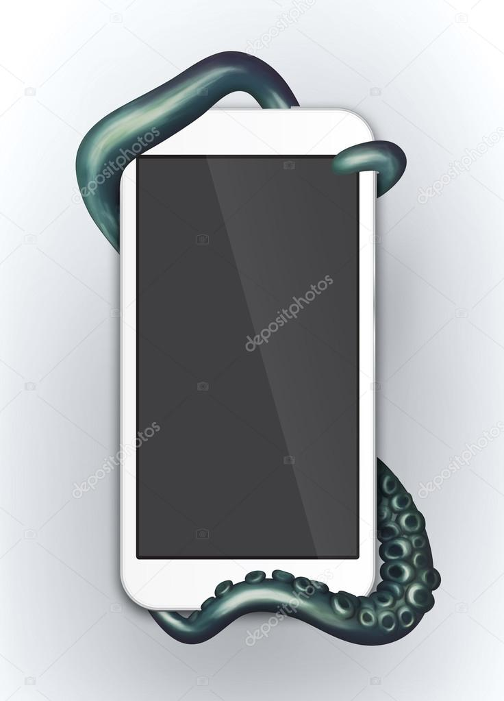 Tentacles wrapped around digital device