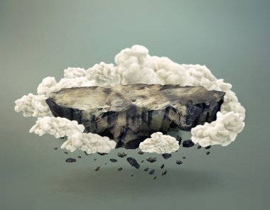 Floating Rock Island Surrounded by Clouds