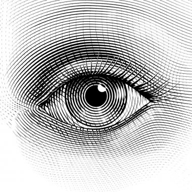 Vector human eye in engraved style. Eps8. CMYK. Organized by layers. One global color. Gradients free. stock vector