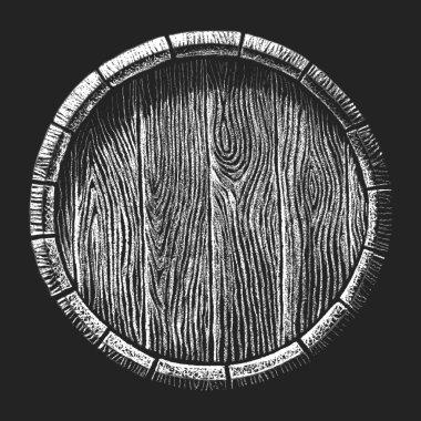 Wooden barrel drawn on the chalkboard