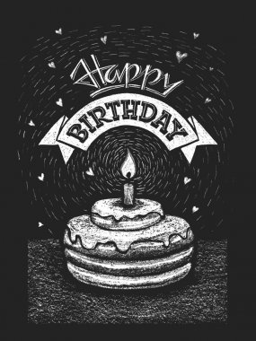 Happy birthday illustration on chalkboard