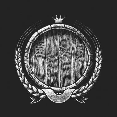 Oak barrel with wheat wreath drawn on the chalkboard