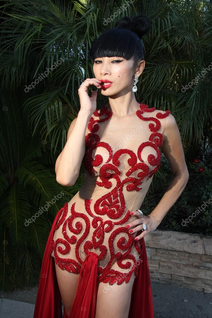 Bai Ling  Models her See-Thru Red Hot Birthday Dress, Los Angeles, CA 10-10-15 stock vector