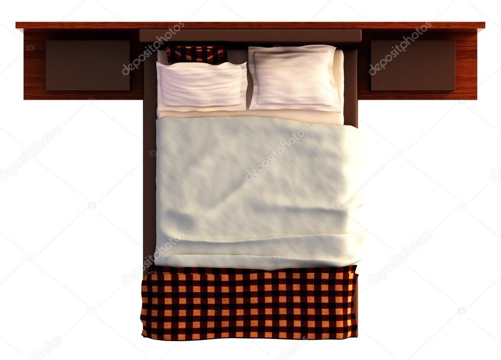 vue de dessus de lit isol e on white photographie vik173 102724152. Black Bedroom Furniture Sets. Home Design Ideas
