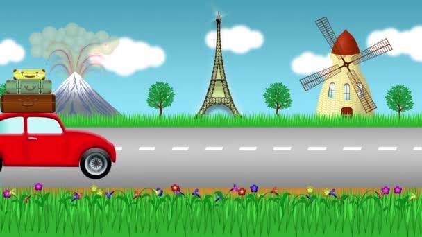 Animated car travelling around Europe