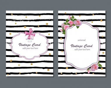Universal vector romantic card template with pink roses. Save the date, bridal shower, birthday, invitation card.