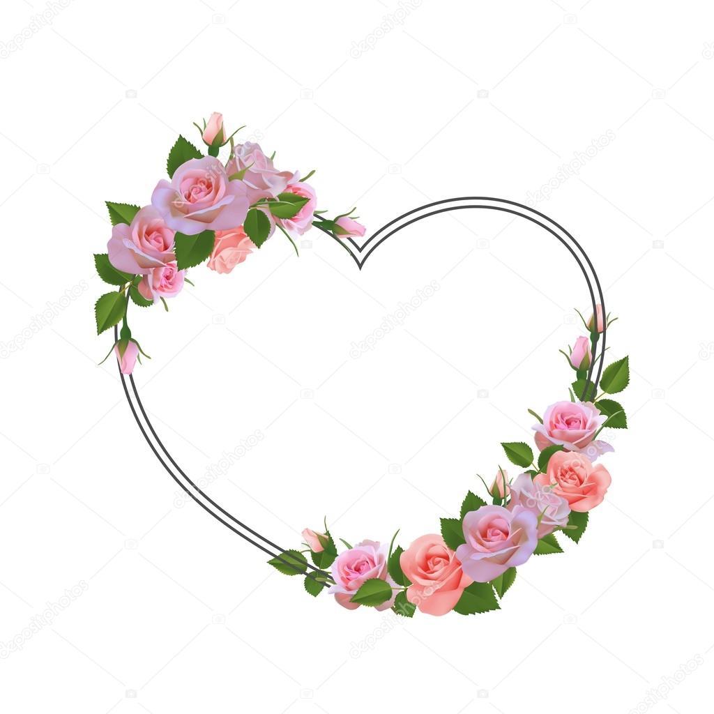Marco romántico con flores. Lugar para el texto, citar — Vector de ...