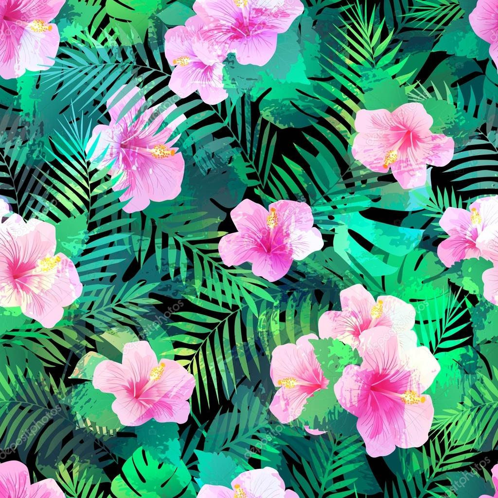 Seamless pattern with exotic hibiscus flowers and palm leaves colorful seamless pattern with pink flowers for different uses vector by olgac izmirmasajfo