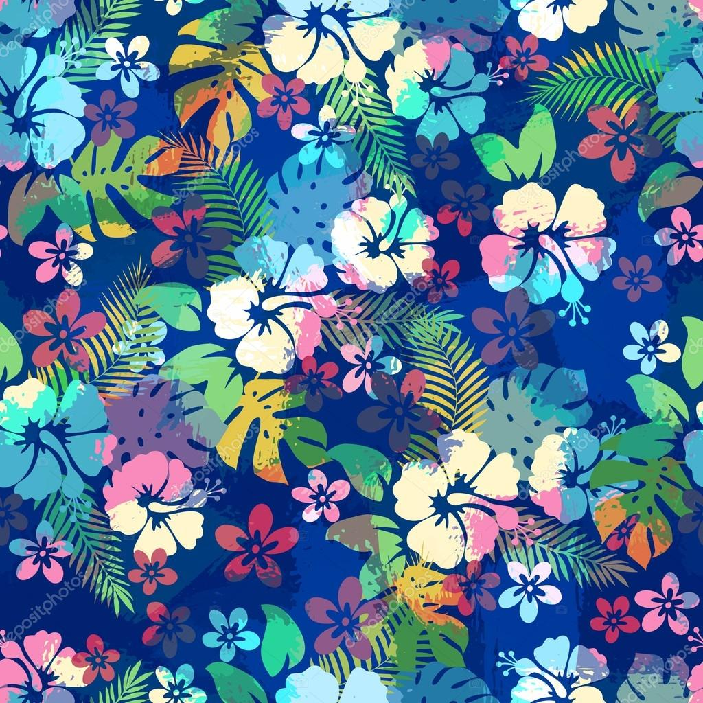 464c8782d9bf Hawaiian tropical floral seamless pattern with hibiscus flowers. — Stock  Vector