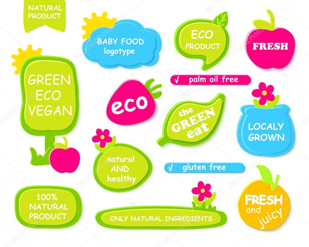 Set of green frames, labels for organic, natural, eco or bio products. Design  kids and baby food.