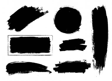 Set of hand drawn brushes and design elements. black paint, ink brush strokes. Grunge circle, square. Artistic creative shapes. Vector illustration. clip art vector