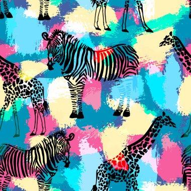 Hand drawn seamless pattern with zebra and giraffe.
