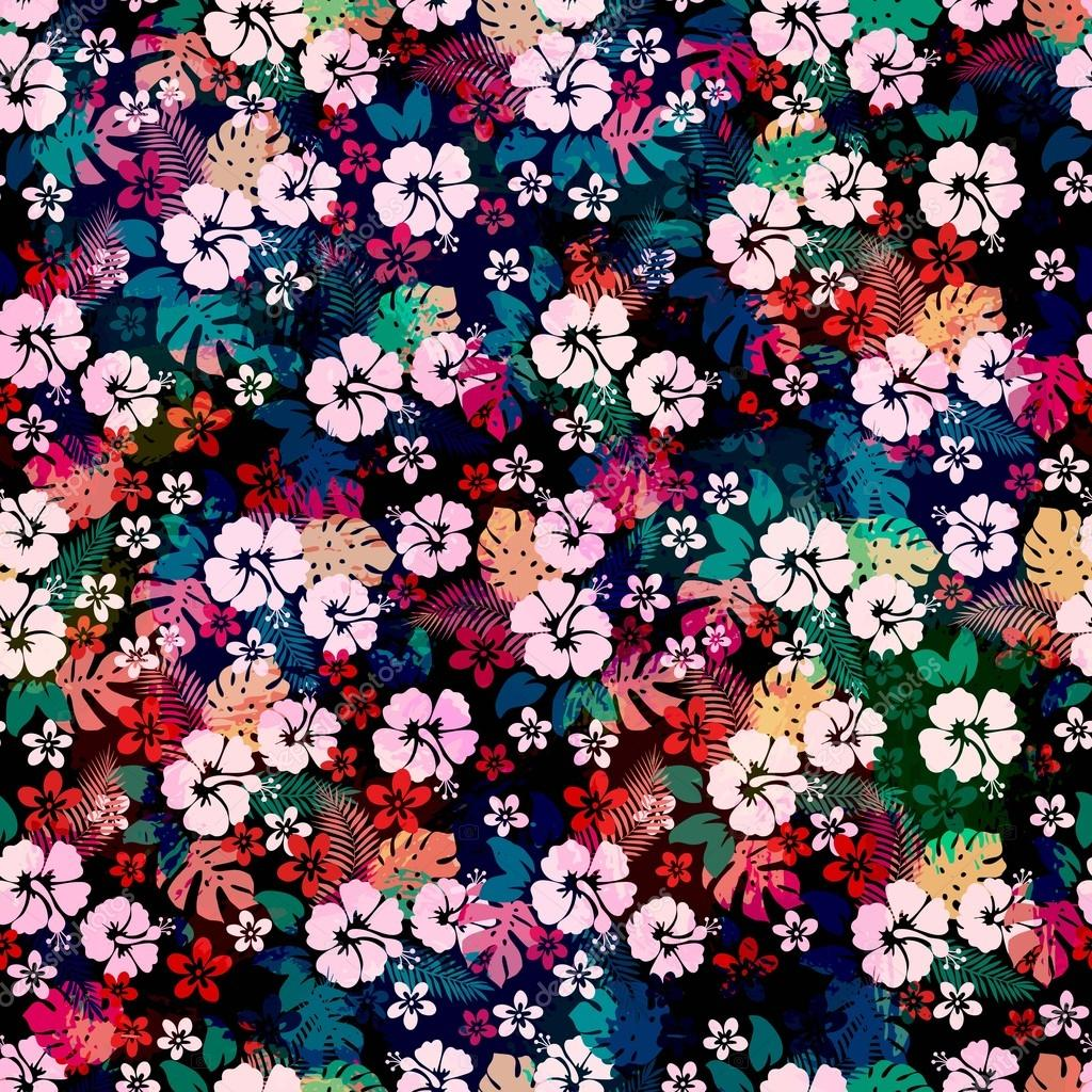 Hawaiian tropical floral seamless pattern.