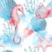 Fotografie Meer-Muster mit Hand bemalt Aquarelle Kreaturen