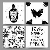 Gótikus romantikus kártyák gyűjtemény. Törmelék foglalás grunge készlet