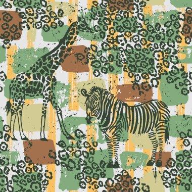 Hand drawn seamless pattern with zebra, giraffe and leopard fur