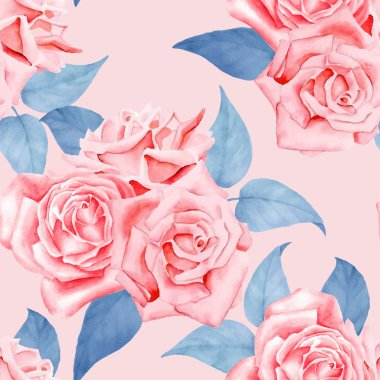 Watercolor red roses seamless pattern.
