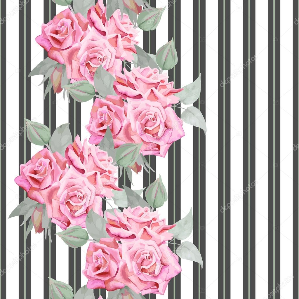 Watercolor red roses seamless pattern with stripes.