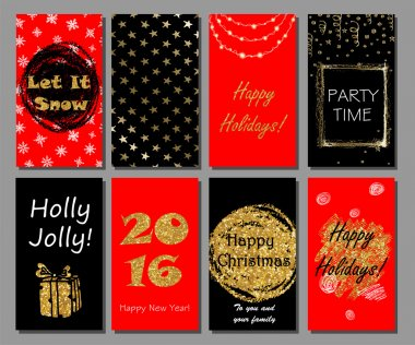 Christmas and New Year handdrawn cards collection. Xmas party invitation.