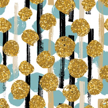 Hand drawn painted seamless geometric pattern with golden glitter dots.