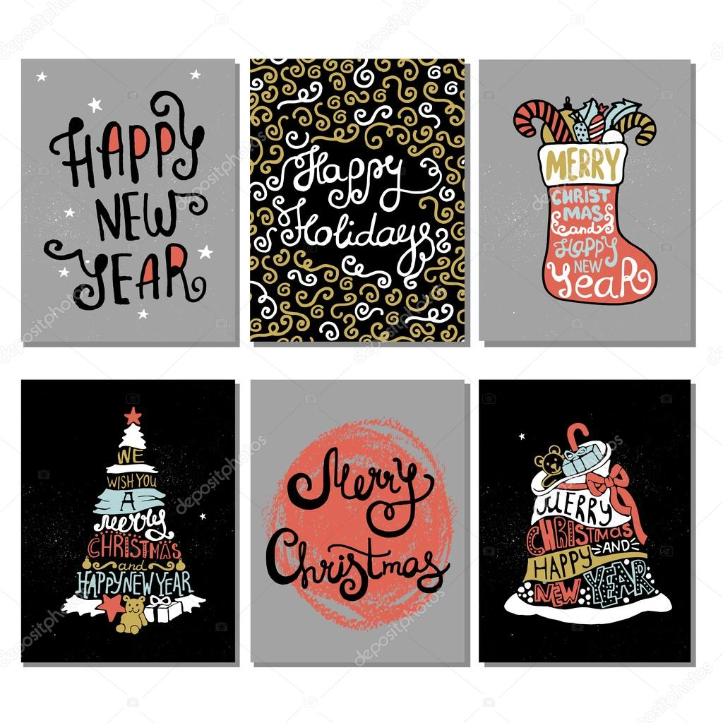 typographic christmas and new year cards collection stock vector