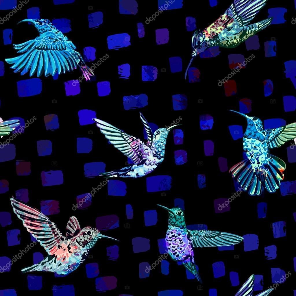 Hummingbird seamless pattern. Hand drawn tropical exotic background.
